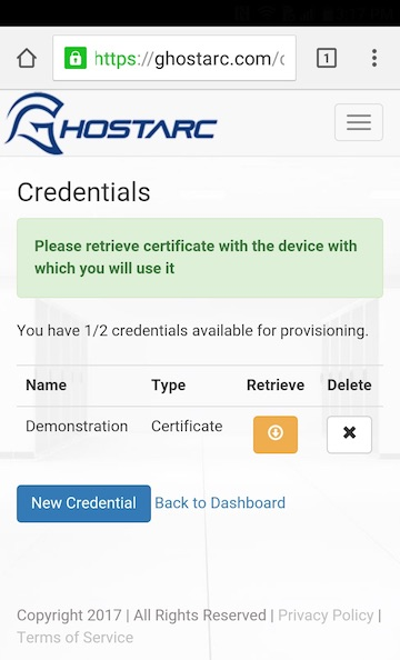 Android Certificate Retrieve Button