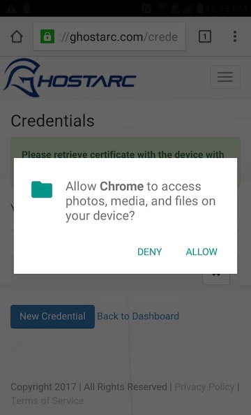 Android Certificate Allow Files Access