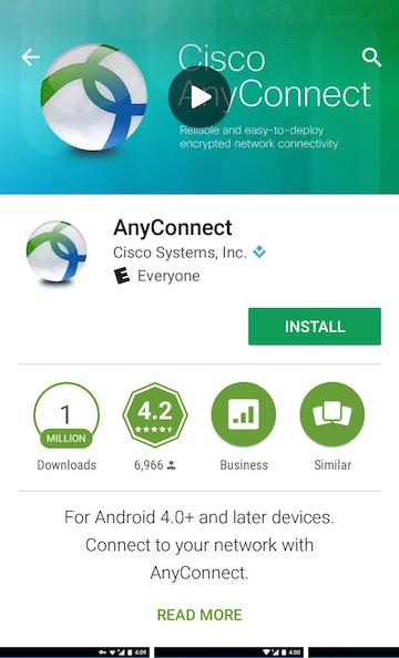 Install AnyConnect on Android