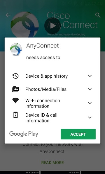 Android AnyConnect Accept Permissions Request