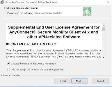 Windows AnyConnect License Agreement Accept