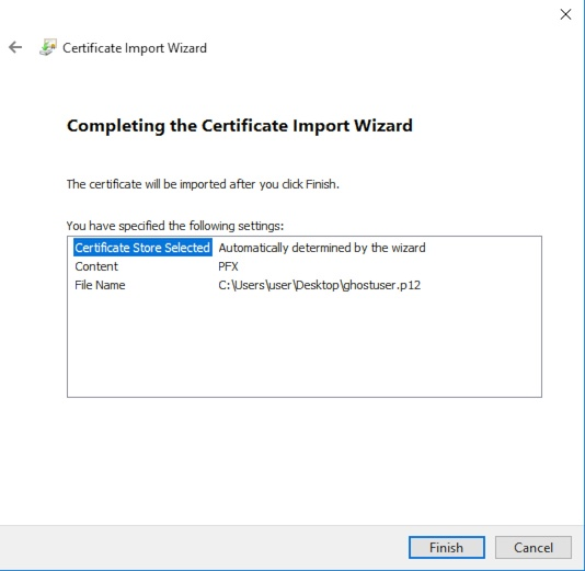 Windows Certificate Import Finish