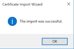 Windows Certificate Import Successful